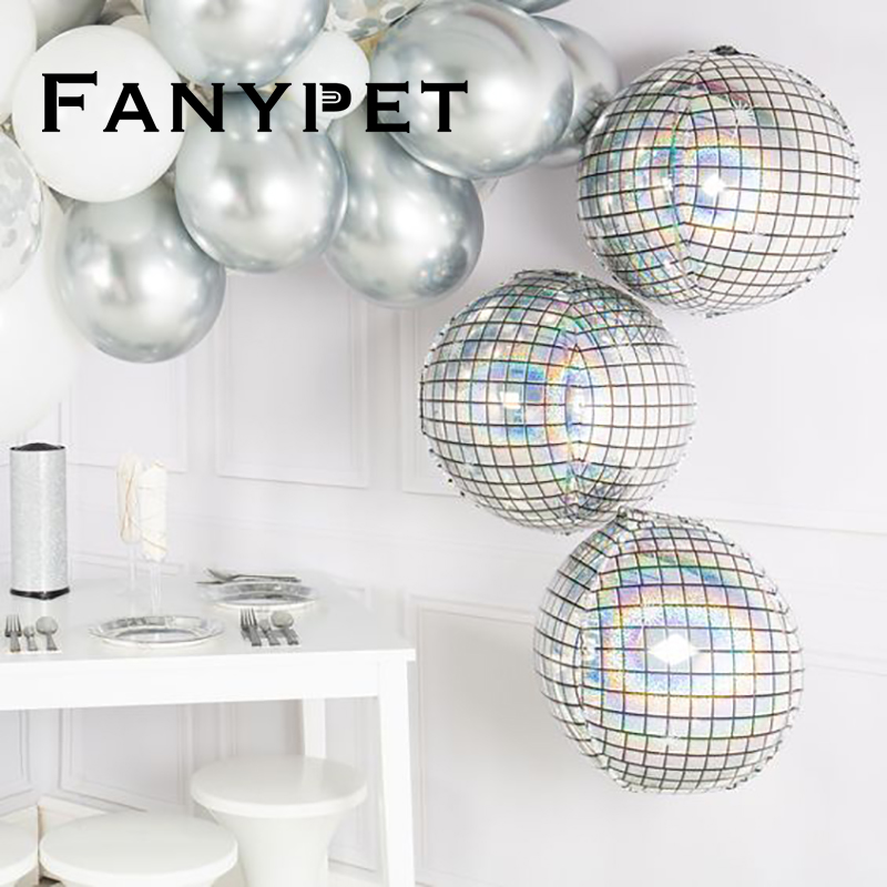 Disco Round Foil Birthday Solid Party Decor Diamond Ball Shaped Aluminum Party Balloons Cube 20pcs New Wedding Helium 4D Year
