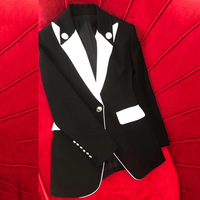 Женская Черная куртка на весну 2019 Элегантная куртка с отложным воротником и длинным рукавом с пуговицами модная женская новая верхняя одеж
