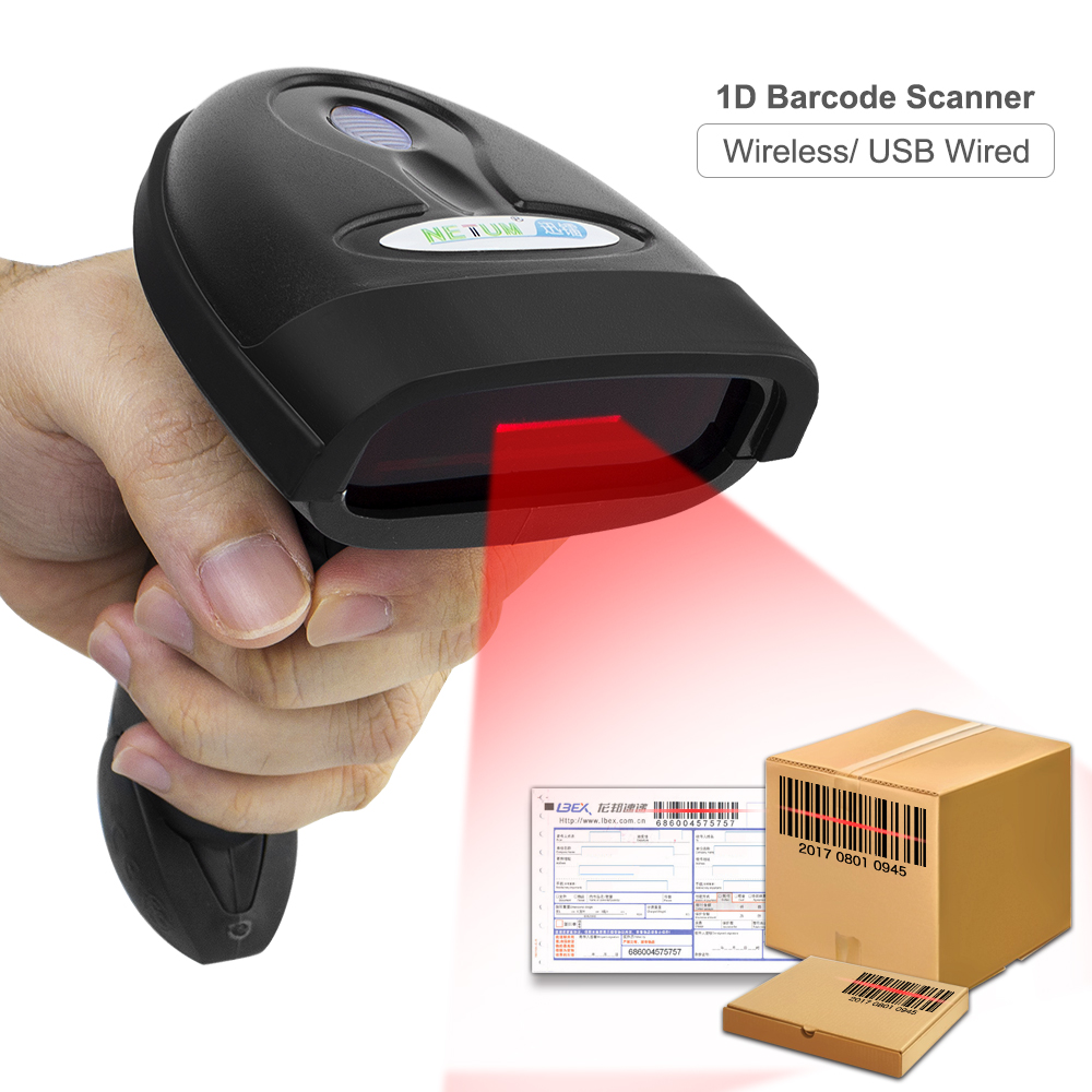 2.4G bezprzewodowy ręczny skaner kodów kreskowych kod kreskowy czytnik (bezprzewodowy/USB przewodowy) dla POS i zapasów NT-1698W