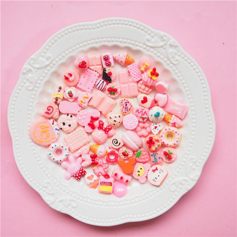 100PC/Set Cartoon Macaron Cream Cake Chocolate DIY Resin Crafts Accessories DIY Children Hair Decoration Phone Case Accessories