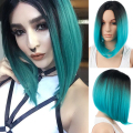 Ombre Blue Wigs Synthetic Hair Short Wigs for Black Women Short Bob Wig Ombre Blue Hair Heat Resistant Cheap Bob Wig