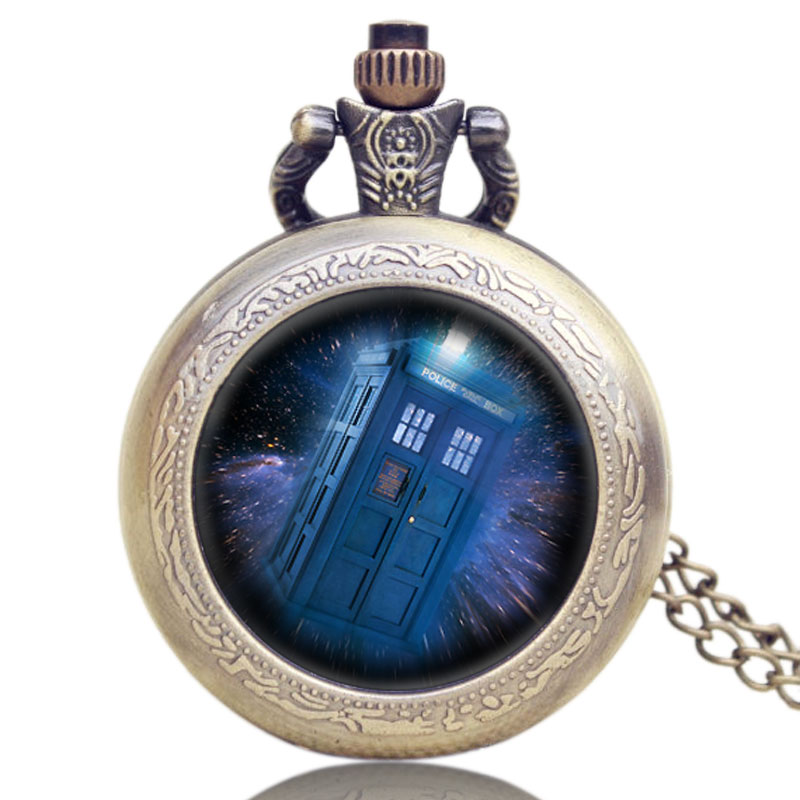 Hot Steampunk Doctor Who Theme Mysterious Police Box Design Glass Dome Pocket Watch With Chain Necklace doctor who series glass dome bronze quartz pendant pocket watch with necklace chain free shipping best gift