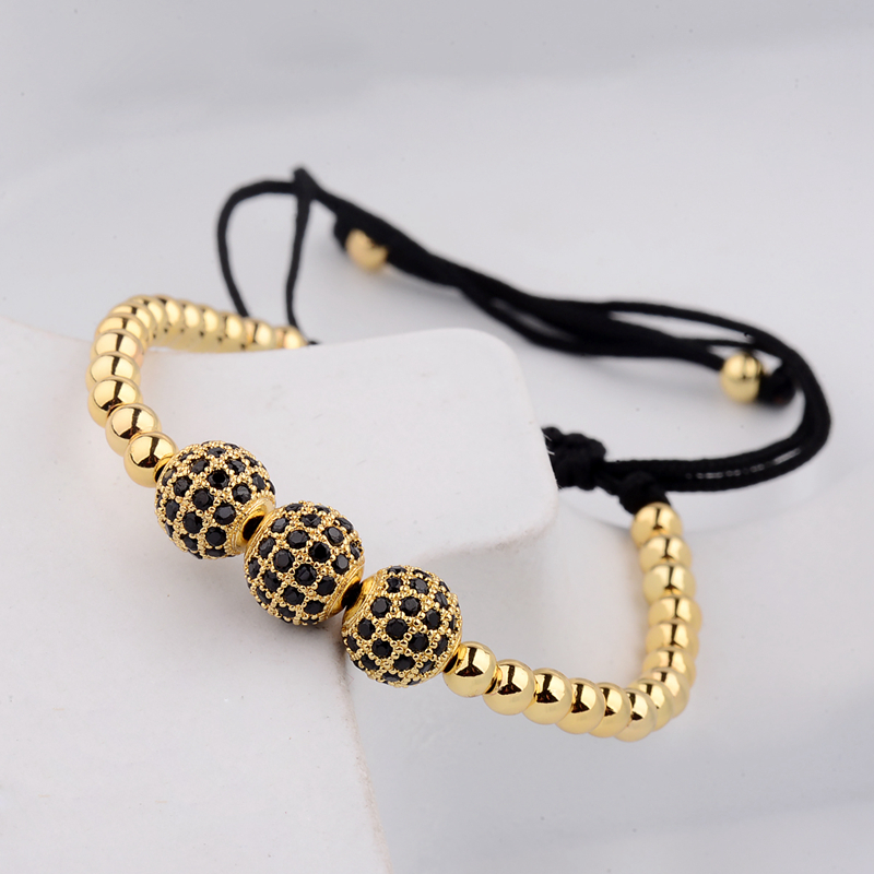 DOUVEI New Gold Diy Дизайн Pave CZ Ball Charm білезігі