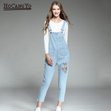 Fashion Women's Jumpsuits Plus Size 5XL Loose Casual Straps Floral Embroidered Jeans Rompers Womens Jumpsuits Overalls for Women(China)