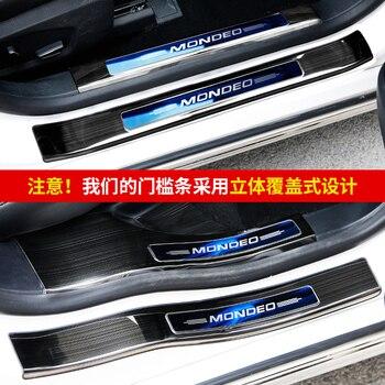 Aço Inoxidável do Peitoril da porta da Placa do Scuff Pedal Guarda Protetor de Estilo Do Carro Adesivo para Ford Mondeo 2013 2014 2015 2016 2017 2018