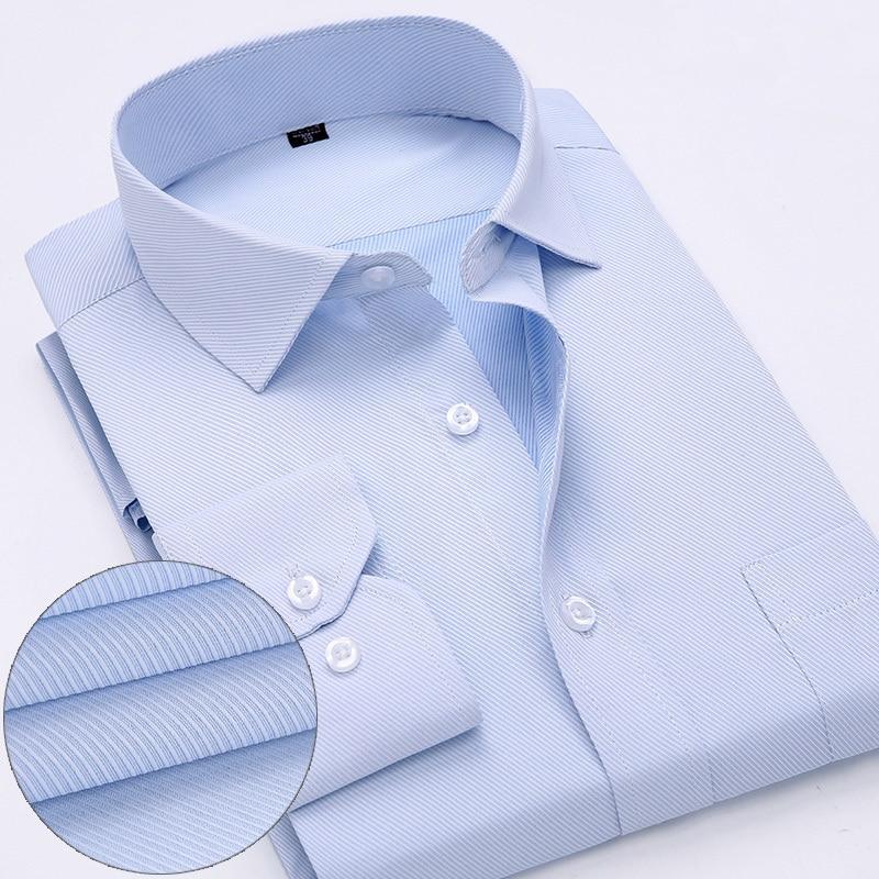 mens work shirts Brand soft Long sleeve square collar regular  solid plain/ twill men dress shirts white male tops 3