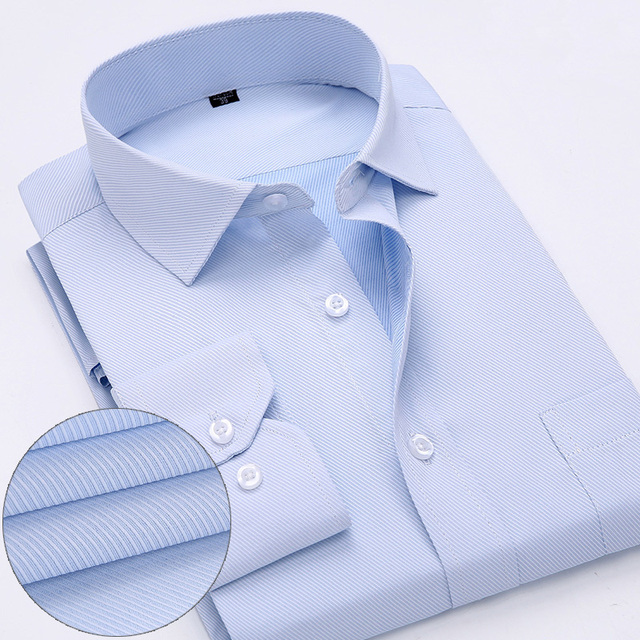 New Arrived 2018 mens work shirts Brand soft Long sleeve square collar regular striped /twill men dress shirts white male tops