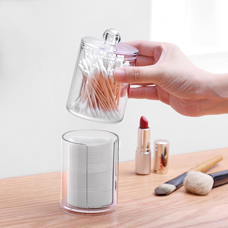 Clear Cotton Swab Box Acrylic Cotton Pad Storage Holder Boxes Transparent Cotton Swabs Q-tip Storage Box Case Makeup Organizer