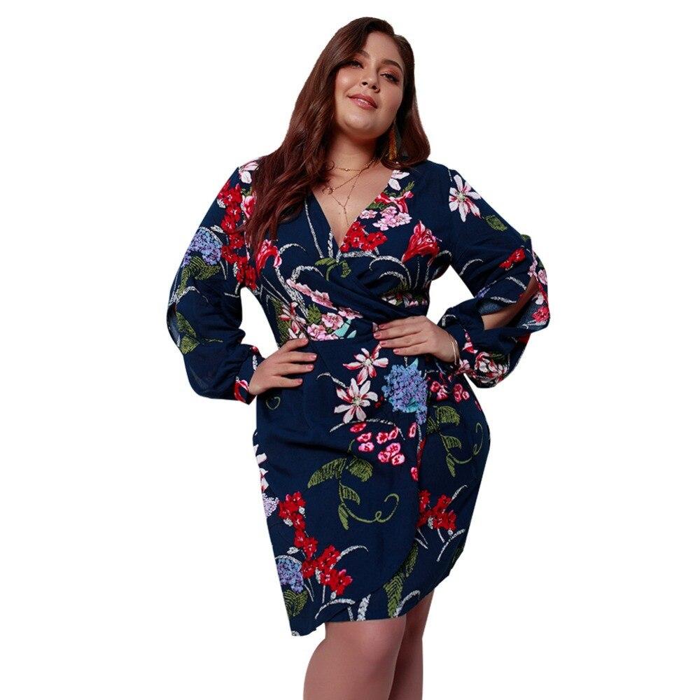 WHZHM Boho Long Sleeve High Waist Loose Plus Size 3XL 4XL Dress Women Vestido Casual Summer