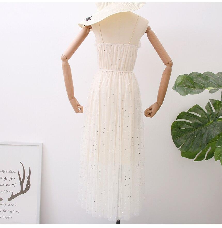 Sweet Mesh Spaghetti Strap Star Sequins Dress 11