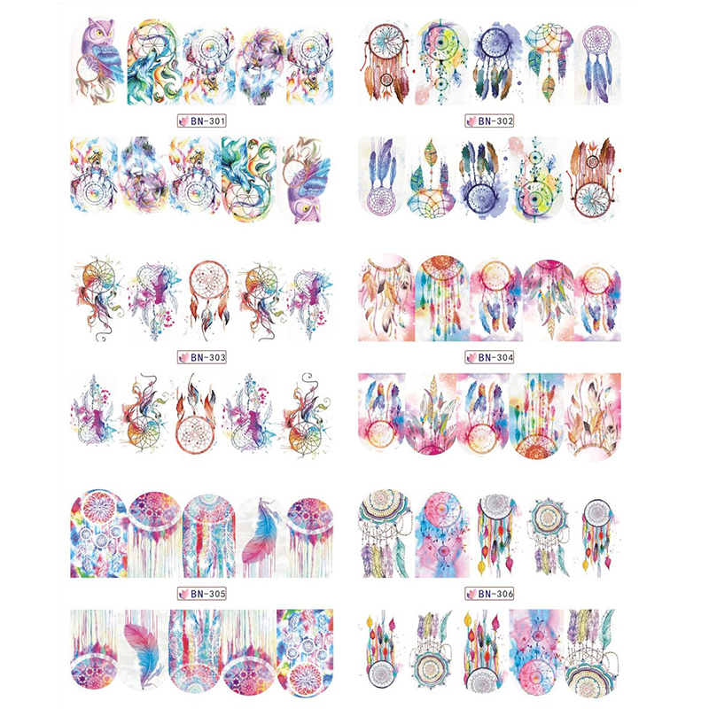 12 Patterns Big Sheet Nail Water Decal Dreamcatcher Transfer Sticker Manicure Nail Art Decal Decoration wild style water transfer decal nail art decoration sticker