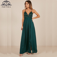 Parthea Sexy Sequin Chiffon Maxi Dress Noble Green V neck Backless Lace up Long Dress Summer Women High Split Party Dresses