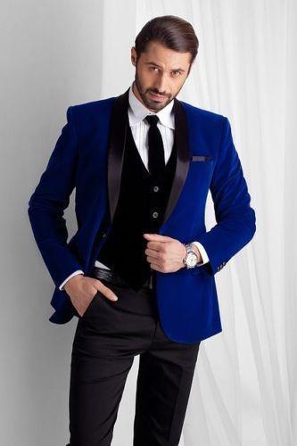 Королевский синий Для мужчин бархат смокинг для жениха дружки Best человек Жених новые костюмы индивидуальный заказ костюмы A081