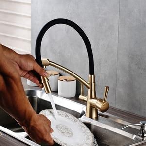 Image 2 - Uythnerキッチン浄化柔軟な回転台所の蛇口デュアルスパウトデュアルミキサータップハンドルホット & コールド純水ミキサー