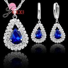 "Jewelry Set Blue 925 Sterling Silver Austrian Crystal Pendant Necklace 18"" Chain Hoop Earring Lever Back Women Accessories(China)"