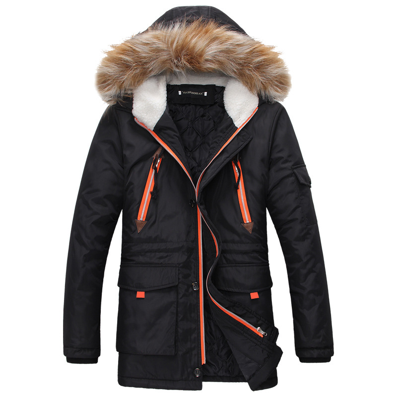 Jackets Men Fur Hooded Warm Men Coats Winter Jacket Men Thick Outwears Long section Coat ...