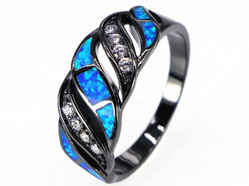 2017 Hot Wholesale & Retail Fashion Fine Blue Fire Opal Rings 10KT Black Gold Filled RJL170508018