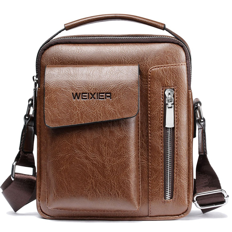Weixier Vintage Messenger Bag Men Shoulder Bags Pu Leather Crossbody Bags For Men Bags Retro Zipper Man Handbags