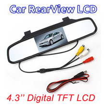 Car Rearview Mirror Monitor HD Video Auto Parking Monitor TFT LCD Screen4.3 inch display with retail box free shipppng Promotion(China (Mainland))