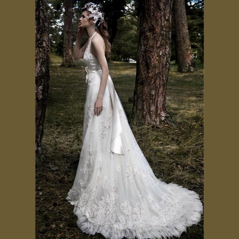 Lace Halter Wedding Gown: 2015 Vintage White Lace A Line Wedding Dresses Elegant
