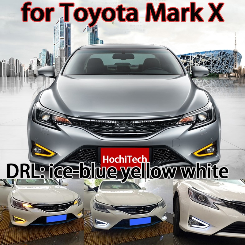 High quality 3 colors white yellow ice blue LED Car DRL Daytime running lights fog light for Toyota Mark X Facelift 2013-2015 1 set white led daytime running fog light drl for toyota mark x reiz 2013 2015