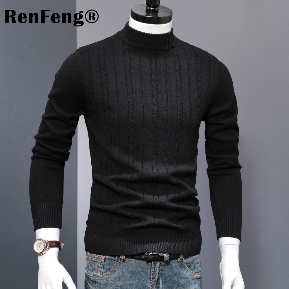 Korean Stretched Thick Warm Men Turtleneck 2018 Winter Mens Sweaters Pullovers Knit Long Sleeve Cashmere Sweater Male Jumper Top (6)