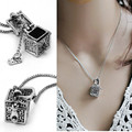 Retro Vintage Antique Silver Tone Women Open Prayer Wish Box Pendant Necklace Jewelry Lover Valentine Gift 2016 Hot