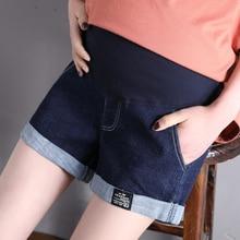 Летняя одежда для беременных из хлопка, джинсовые шорты для мам, джинсовые штаны для беременных, джинсы с эластичной резинкой на талии, Одежда для беременных