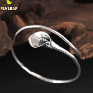 Image 3 - Flyleaf 925 Sterling Silver Vintage Calla Lily Flower open Bracelets & Bangles For Women Fashion Lady Sterling silver jewelry
