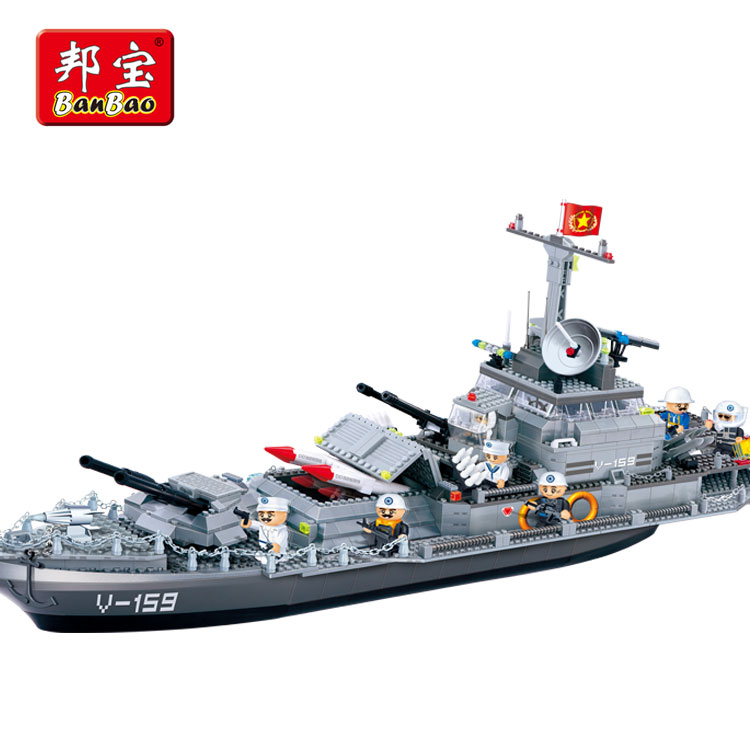BanBao Thunder Battleship Military Army Building Blocks Compatible With Legoe Educational Bricks Kids Children Toy Model 8240