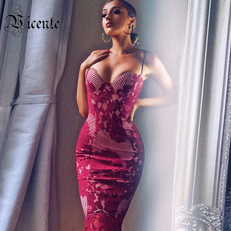 Free Shipping 2018 New Fashion Graceful Floral Lace Sexy Sleeveless Strapless Wholesale Women Celebrity Party Bandage Slip Dress