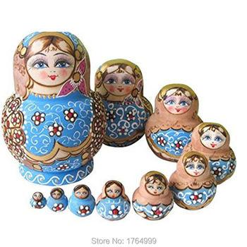 10pc/SET Wooden Russian Nesting Dolls Braid Girl Russia Traditional Matryoshka Dolls Matrioska Toy Xmas Gift Juguetes 15cm figurine