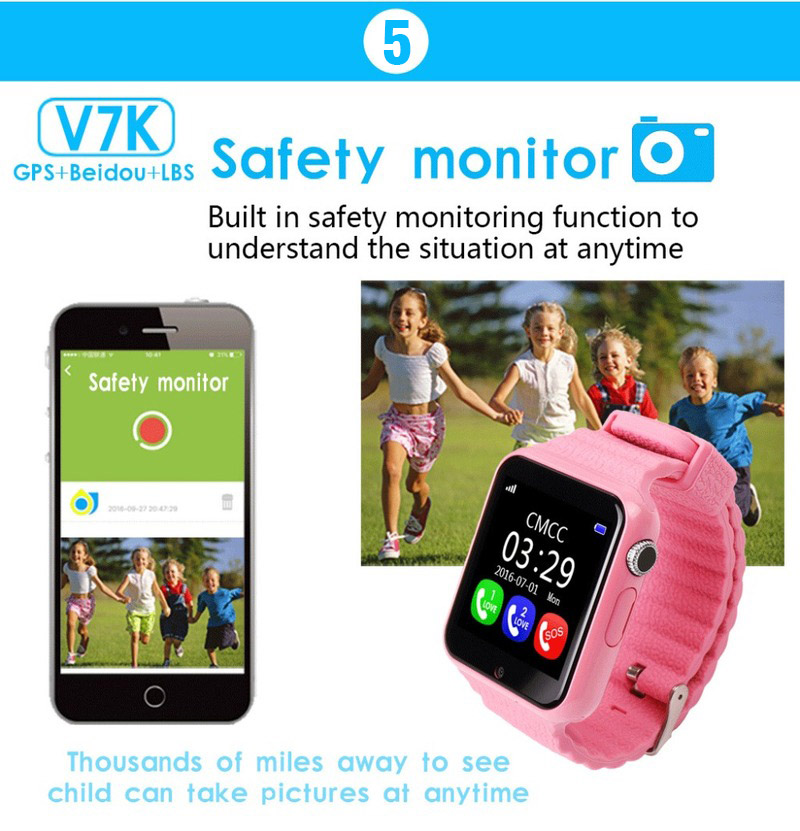 Image 5 - V7k Kids Smart Watch GPS Global Location Baby Child Watch Phone Finder Tracker Camera Anti lost SOS Safe Voice Call PK Q50 Q90-in Smart Watches from Consumer Electronics