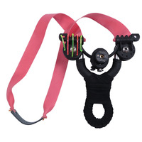 New style stainless steel fiber optic sight flat rubber band slingshot button battery Infrared laser catapult
