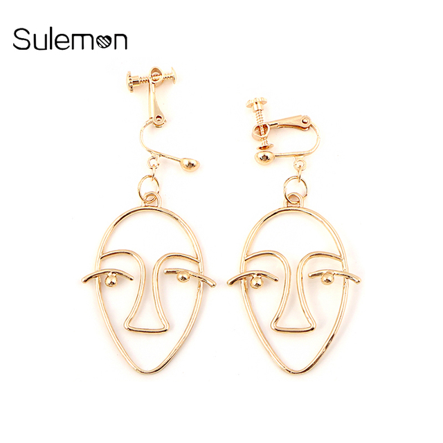 Geometry Face Earrings For Women No Hole Ear Clip Metal Earring Without Piercing Statement