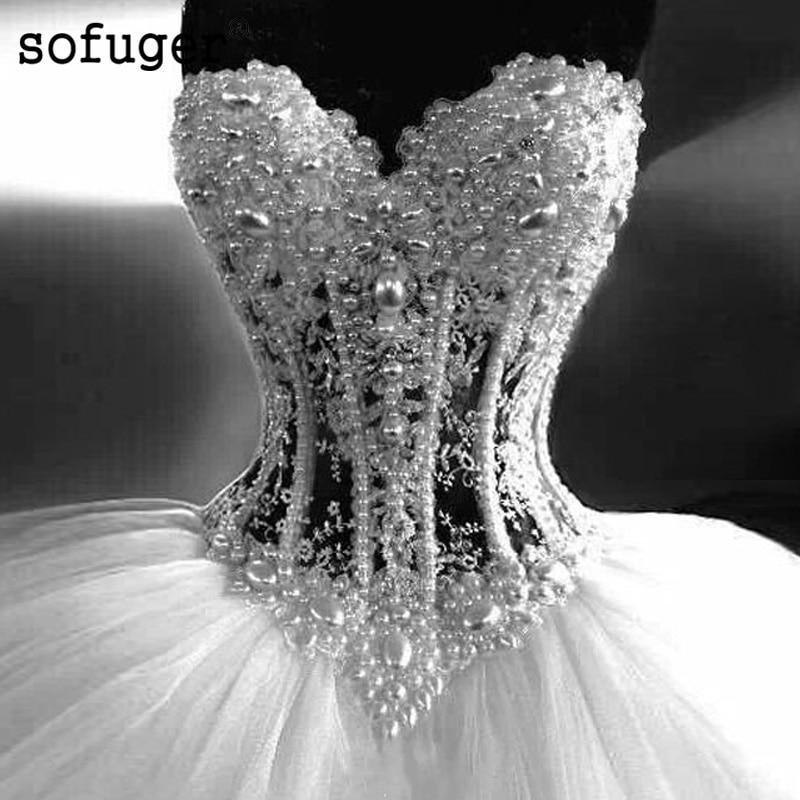 White Wedding DressSexy Elegant Sweetheart Tulle Pearls Bridal Gown Wedding Dresses Vestidos de Noivas Custom