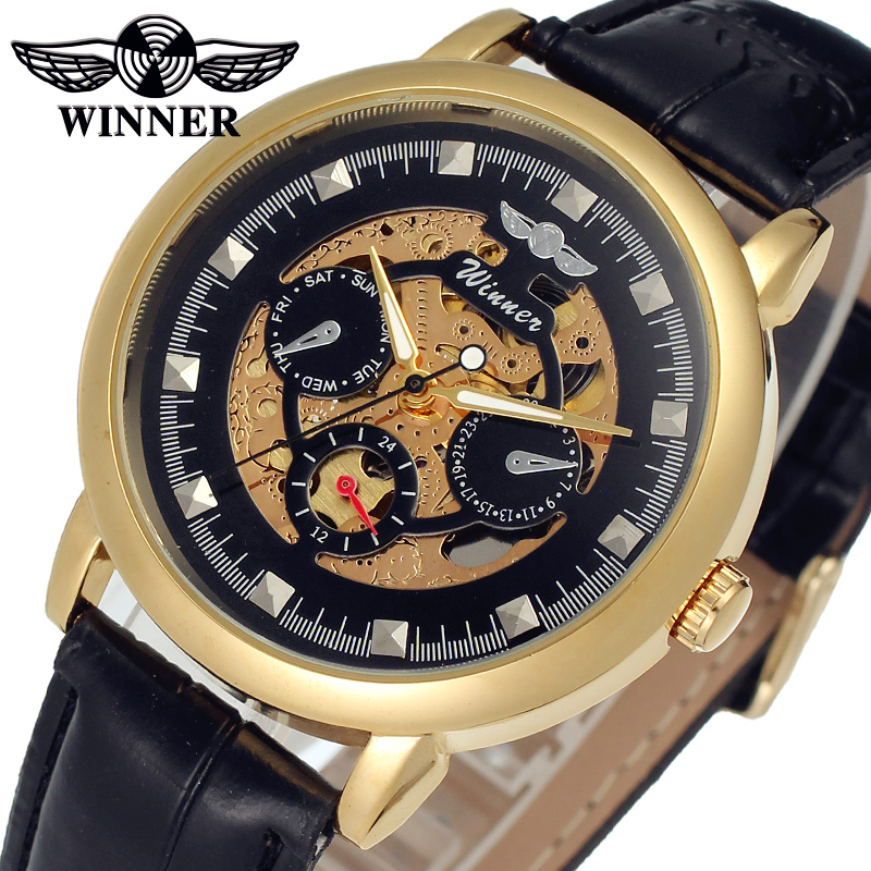 WINNER Men Luxury Brand Self-wind Skeleton Leather Crystal Analog Watch Automatic Mechanical Wristwatch Gift Box Relogio Releges