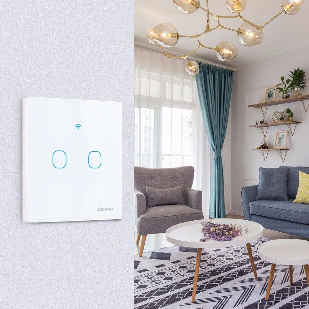 SESOO inteligente Wifi pared táctil interruptor de la Luz 2-banda APP controlador casa inteligente trabaja con Alexa/Google A casa