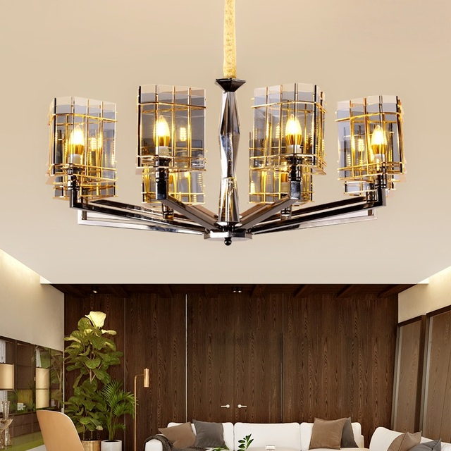 Stained Glass Crystal Chandelier with Tinted Lampshades