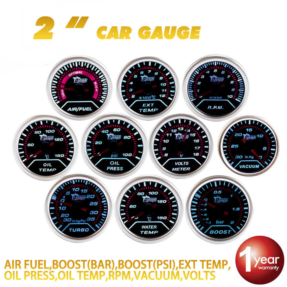 DRAGON GAUGE Car Gauge 2 52mm Bar Boost Turbo PSI VACUUM WATER TEMP OIL TEMPERATURE OIL PRESS VOLTS AIR/FUEL EXT TEMP RPM cnspeed 2 52mm car boost gauge bar psi exhaust gas temp water temp oil temp oil press air fuel gauge voltmeter tachometer