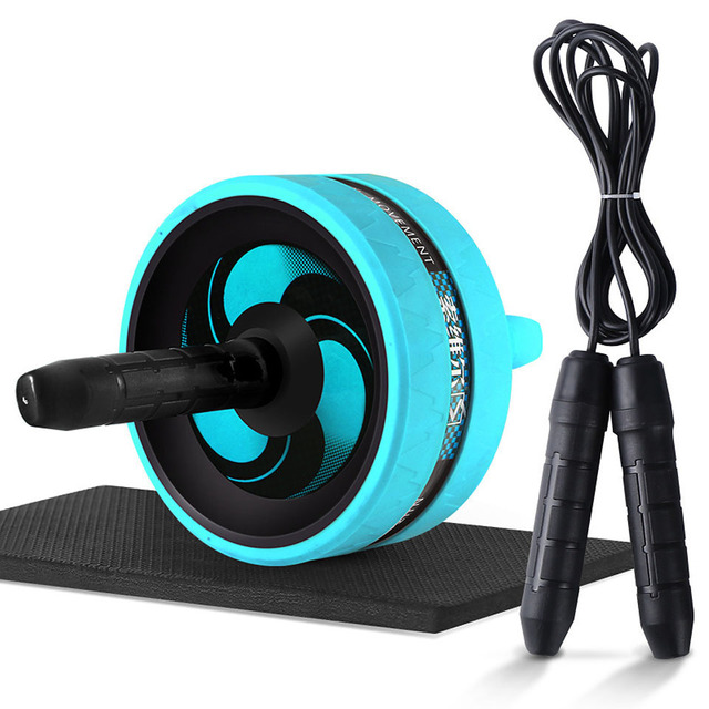 New 2 in 1 Ab Roller Jump Rope No Noise Abdominal Wheel Ab Roller with Mat