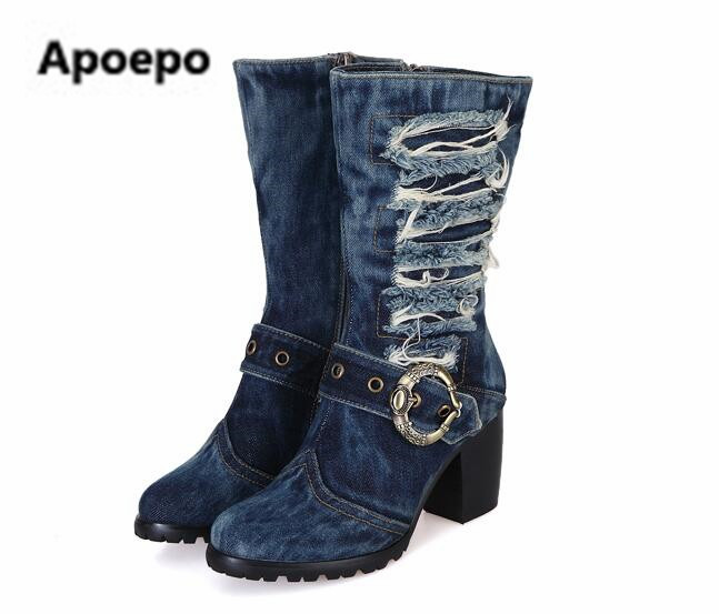Apoepo brand women shoes ladies Cowboy boots high heels boots women metal buckle motorcycle boots mid-calf boots winter 2017 gaozze fashion women socks boots mid calf thick high heels boots women comfortable elastic knitted fabric female boots brand
