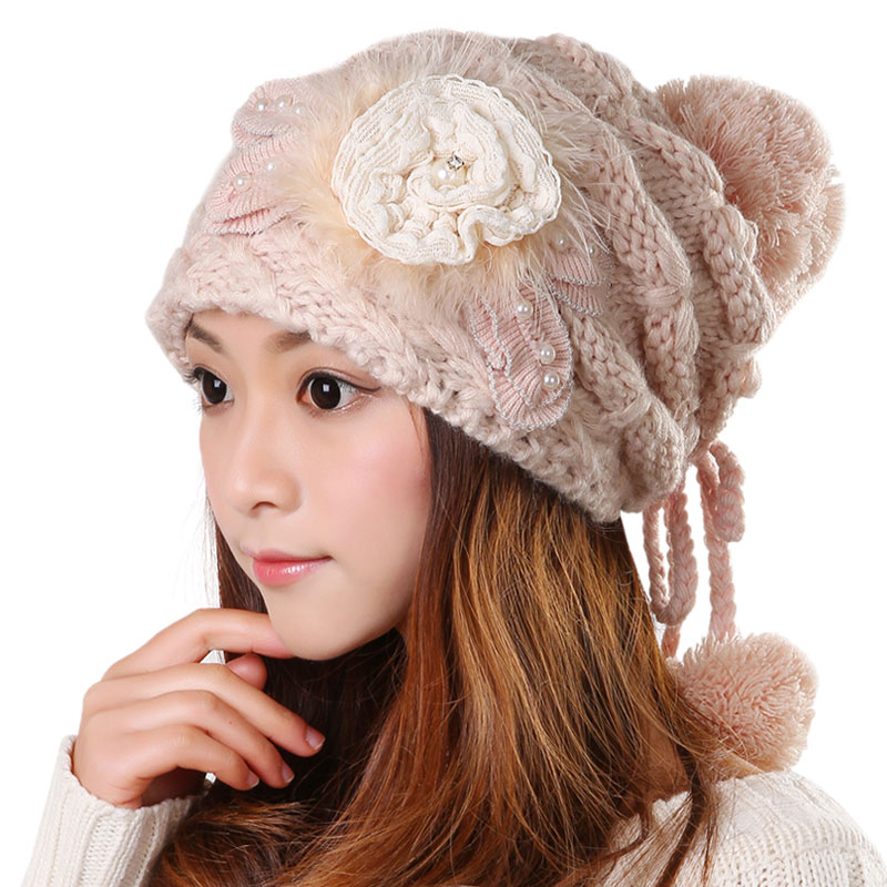Warm wool hat female autumn and winter fashion cute  m / pink / white flowers knit cap 2017 new style fashion , free shipping autumn and winter new men s fashion thicker warm wool cap hooded knit cap
