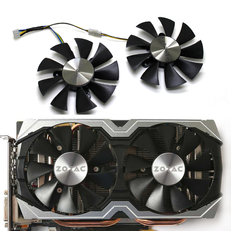 2pcs/piar 85mm GFY09010E12SPA 4Pin Cooler Fan Replace For ZOTAC AMP <font><b>1060</b></font> 6 GB <font><b>GTX</b></font> 1070 <font><b>Mini</b></font> Graphics Card Cooling Fan image