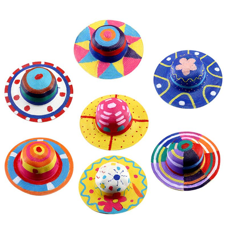 DIY Child Mexican Sombrero Costume Sunshade Summer Outdoor Hat Art Painting