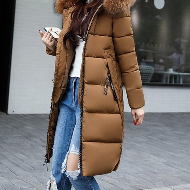 D'hiver Mode Grand Capuchon Taille gris coffee Manches Noir Femmes Le Fourrure La Bas Vêtements Longues Slim Épaisse Parkas Vers Manteau army Green Plus Long À qwKO1qFrv