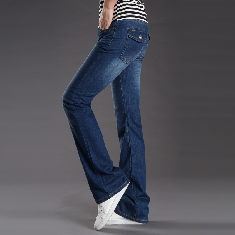Fashion Mens Bell Bottom Jeans Business Blue Mid Waist Slim Fit Boot Cut Flare Leg Denim Pants Plus Size Flared Jens