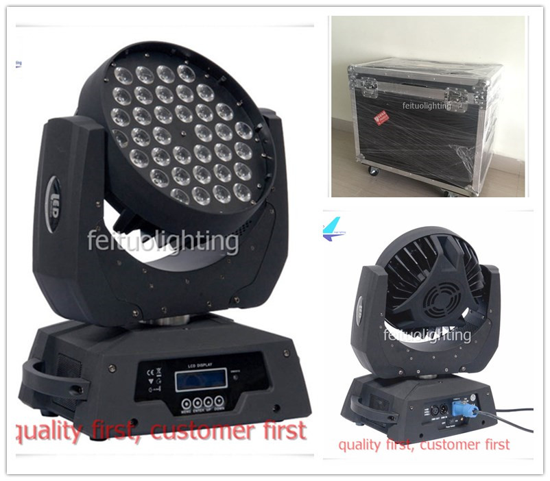 free shipping 6pcs/lot+flightcase 36X10W LED Moving Head Wash Light Luce RGBW 4IN1 Stage DJ Disco Strobe Effect DMX Lumiere Lamp