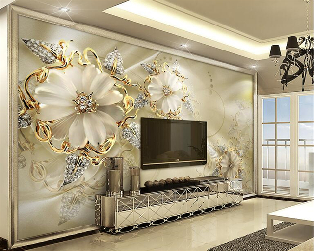 Incroyable Beibehang 3d European Papel De Parede Minimalist Interior Wallpaper Palace  Wind Gold Jewelry Flower TV Background