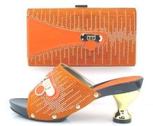 2016 Orange Italienische design PU Handtaschen Und Passenden Schuhe Mit Steinen Mode Afrikanische Schuhe Und Taschen Zu Entsprechen CT16-19